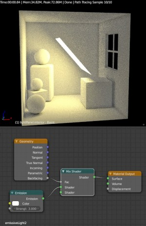 Blender Settings for Cycles Emission node setup 2